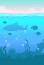 Cartoon vector vertical underwater landscape Royalty Free Stock Photo