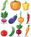 Cartoon vegetables and fruits, vector Royalty Free Stock Photo
