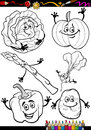 Cartoon vegetables set for coloring book or page illustration of black and white food comic characters Royalty Free Stock Images