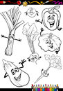 Cartoon vegetables set for coloring book or page illustration of black and white food comic characters Stock Photo