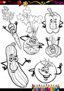 Cartoon vegetables set for coloring book or page illustration of black and white food comic characters Royalty Free Stock Photo