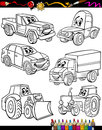 Cartoon vehicles set for coloring book or page illustration of black and white cars or trucks and machines comic characters Stock Images