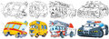 Cartoon vehicles set