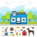 Cartoon Veterinary Clinic Building and Elements Set. Vector