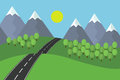 Cartoon view of the asphalt road leading landscape with grass and trees in the mountains with snow under blue sky with sun Royalty Free Stock Photo