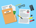 Cartoon View of Working Place witch Papers Folder. Vector