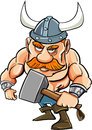 Cartoon viking with a big hammer isolated on white Stock Images