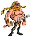 Cartoon Viking with a sword Royalty Free Stock Photography