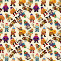 Cartoon vikings pirate seamless pattern Royalty Free Stock Image
