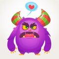 Cartoon violet angry monster in love. St Valentines vector illustration of loving monster.