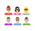 Cartoon Virtual Reality Glasses Avatars Set. Vector