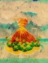 Cartoon Volcano Eruption Grunge