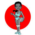 Cartoon of Volleyball girl or young woman Royalty Free Stock Photo