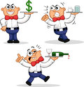 Cartoon waiter set expensive angry drunk Royalty Free Stock Image