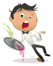 Cartoon waiter slipping and dropping the tray with drinks Royalty Free Stock Photo