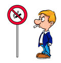 Cartoon warning man no smoking isolated illustration Stock Photos