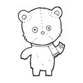 Cartoon waving teddy bear black and white line in retro style vector available Royalty Free Stock Image