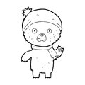 Cartoon waving teddy bear black and white line in retro style vector available Royalty Free Stock Photo