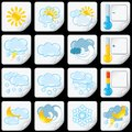 Cartoon weather forecast icons paper stickers this is file of eps format Royalty Free Stock Images