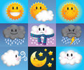 Cartoon weather symbols nine which are made up of suns clouds and moons with cute faces Stock Image