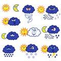 Cartoon weather symbols Royalty Free Stock Photo