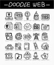 Cartoon web doodle icon set Stock Images
