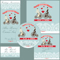 Cartoon wedding couple on retro bike.Design template set