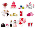 Cartoon wedding icon set Stock Images