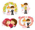 Cartoon wedding set Stock Photos