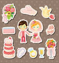 Cartoon wedding stickers Royalty Free Stock Photo