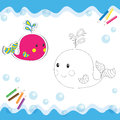 Cartoon whale isolated on white coloring book vector illustration Royalty Free Stock Images