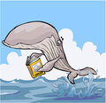 Cartoon Whale reading Zoology textbook. Royalty Free Stock Photo