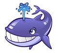 Cartoon whale smiling blue with the water fountain on his back Stock Images