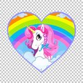 Cartoon white unicorn head with pink mane portrait inside of rainbow heart