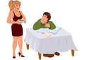 Cartoon wife serving dinner for husband illustration of couple isolated on white Stock Photo