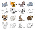 Cartoon wild animal illustrations a set of color and black an white outline versions Stock Image