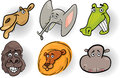 Cartoon wild animals heads set Stock Image
