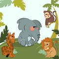 Cartoon wild animals in the jungle Royalty Free Stock Photography