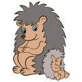 Cartoon wild animals for kids. Mother hedgehog looks at her baby