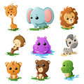 Cartoon wildlife animal icons a vector illustration of Royalty Free Stock Images