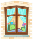 Cartoon window Stock Photos