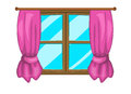 Cartoon window with curtains vector symbol icon design. Royalty Free Stock Photo