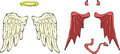 Cartoon wings angel and demon Stock Image