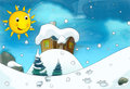 Cartoon winter background with footsteps scene for different fairy tales beautiful and colorful illustration the children Royalty Free Stock Photo