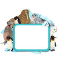 Cartoon winter frame with arctic animals