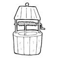 Cartoon wishing well black and white line in retro style vector available Stock Photos