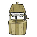 Cartoon wishing well hand drawn illustration in retro style vector available Stock Photos