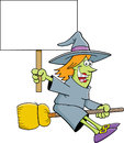 Cartoon witch on a broom holding a sign illustration of Stock Photography
