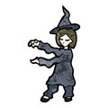 Cartoon witch casting spell Stock Photo