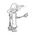Cartoon witch casting spell black and white line in retro style vector available Royalty Free Stock Images